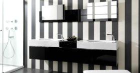 salle bain noire blanche